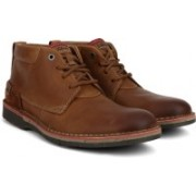 Clarks Edgewick Mid Tan Leather Boots For Men(Brown)