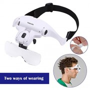"Headband Magnifier Glasses LED Magnifying Loupe Head Mount Magnifier Handsâ€""Free Bracket and Headband are Interchangeable 5 Replaceable Lenses1.0X,1.5X,2.0X,2.5X,3.5X (Upgraded Version)"