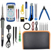 21PCS 60W Electric Soldering Iron Kit Welding Heat Pencil w/ A830L Multimeter