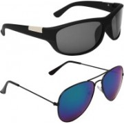 Abner Wrap-around, Aviator Sunglasses(Black, Blue)