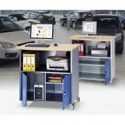RAU PC-Tisch mit durchgehendem Fachboden, mit Fahrsatz anthrazit-metallic / enzianblau RAL 5010