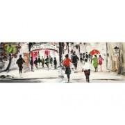 Tablou pictat manual Street Life 50x150 cm