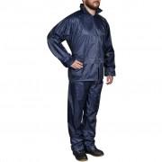 vidaXL Men's Navy Blue 2-Piece Rain Suit with Hood XXL