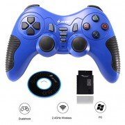 Wireless Controller Game Pad Joystick Gamepad Dual Vibration Double Controllers Turbo Clear and Auto Function with CD for PS1 PS2 PS3 Consoles PC WIN98 ME 2000 XP VISTA WIN7