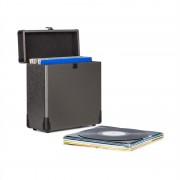 Auna Vinylbox Alu, lemez tartó bőrönd, 30 hanglemez tárolására, fekete (TTS8-Vinylbox Alu BK)