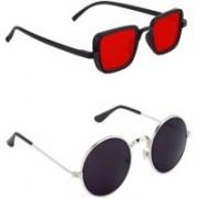 SunTap Retro Square, Round Sunglasses(Red, Black)