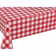 Geen Buiten tafelkleed/tafelzeil boeren ruit rood/wit 140 x 250 cm