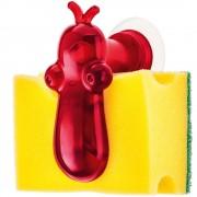 KOZIOL Držák na kuchyňské houbičky NORBERT - barva červená, KOZIOL