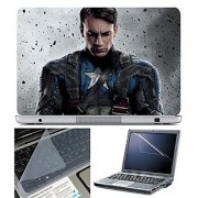 FineArts Laptop Skin 15.6 Inch With Key Guard & Screen Protector - Captain America Sad