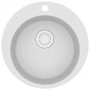 vidaXL Гранитна кухненска мивка с едно корито, кръгла, бяла