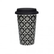 C.T.5213455 Duplafalú utazó pohár porcelán, szilikon fedővel 350ml, Fleur de Lys