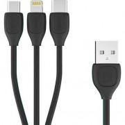 Accesoriu pentru imprimanta remax REMAX Lesu RC-O50TH 3in1 Micro USB CABLE / Lightning / USB TIP C 2.1A 1M BLACK