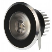 LED Einbaustrahler 5er Set, AMSTERDAM rund, starr, schwarz/chrom, 5x1W