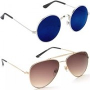 Whay Round Sunglasses(Blue, Brown)