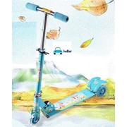 FunBlast Scooters for Kids, 3 Wheeled Metal Folding Skate Scooter (Blue)
