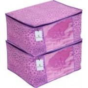 Kuber Industries Flower Design Metalic Flower Design 6 Piece Non Woven Saree Cover, Large(Pink & Purple) - CTKTC34543 CTKTC034543(Pink & Purple)