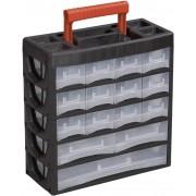 Cutie depozitare piese mici, plastic, 15 sertare, (L x l x Î) 315 x 140 x 325 mm, Alutec