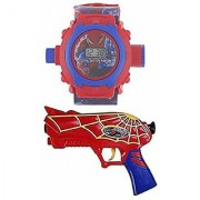 VEEJEE Digital Spider Man Projector Watch Soft Dart Bullets Gun for Boy's and Girl's (Multicolour)