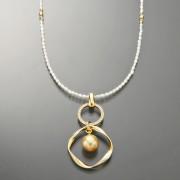 南洋ゴールデンパール&淡水パール デザインネックレス【QVC】40代・50代レディースファッション