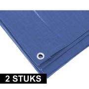 Ben Tools 2x Blauwe afdekzeilen / dekzeilen 4 x 6 meter - Afdekzeilen