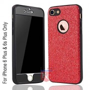 KC 3D Full Body Glitter Electroplating Soft Premium Case Back Cover for iPhone 6 & iPhone 6s (Red)