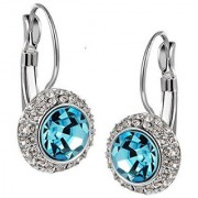 Om Jewells Rhodium Plated Aqua Blue Solitaire Crystal Hoop Earrings for girls and women ER1000056