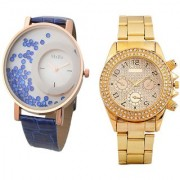 Paidu Golden And Mxre Blue Leather Couple Analog Watches For Men And Women