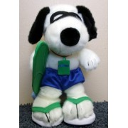 """Hit The Beach Surfs Up 11"""" Plush Surfing Snoopy Doll With Beach Towel, Surf Board, And Goggles"""