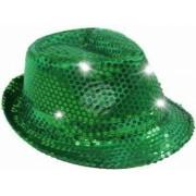 Palarie Trilby cu paiete si LED pentru petreceri verde