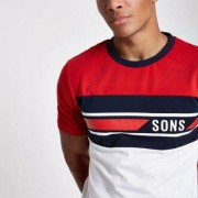 Only and Sons T-shirt met roodgeblokte print Heren