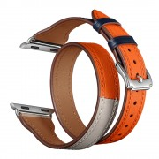 Bi-colored Dual-circle Design Genuine Leather Replacement Watch Strap for Apple Watch Series 1/2/3 42mm / Series 4/5 44mm - Orange+Dark Blue+White