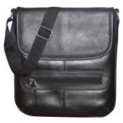 Kan Genuine Leather Travel Bag/Sling Bag/Travel Pouch/Sling Bag for Men & Women Small Travel Bag - Medium(Black)