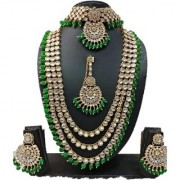 Traditional Gold Plated Kundan Bead Wedding Necklace Jewellery Set for Women Girls(GREEN)
