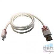 Cablu Date Si Incarcare Micro USB Samsung Galaxy J8 Alb Cu Buline