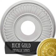 "Ekena Millwork CM15BERGS 15-3/4"" x 3-7/8"" x 3/4"" Berkshire Ceiling Medallion, Rich Gold"
