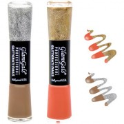 GlamGals combo of 2 Glossy Finish Glitterati Nail Polish(Coffee Peach)