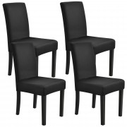[neu.haus]® Potah na židle - 4 ks sada - černý - napínací streč na židle různych rozměrů