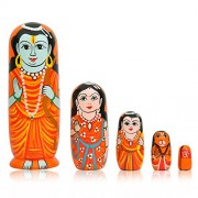 Toolart Wooden God Russian Nesting Matryoshka Stacking Nested Wood Dolls (6-inches)- Set of 5