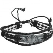 Sullery Peace Free Bird Charm Rope Type White Black Leather Bracelet For Men And Women