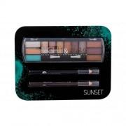 2K Night & Day подаръчен комплект палитра сенки за очи 8,16 g + очна линия 0,6 g Black + очна линия 0,6 g Brown за жени Sunset