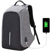 LOF Anti Theft Backpack Waterproof Business Laptop Bag with USB Charging Port for 15 Laptop Camera and Mobile - Grey
