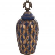 Ánfora cerámica 31 cm color azul y dorado Sohogar