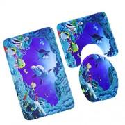 ELECTROPRIME 3Pcs/Set Non-Slip Pedestal Rug+Lid Toilet Cover+Bath Mat Underwater World