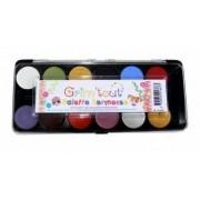 Vegaoo Schminkpalet kermis 12 kleuren - Grim Tout One Size