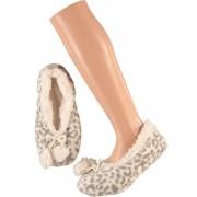 Apollo Grijze ballerina huispantoffels/sloffen panterprint voor dames maat 40-42
