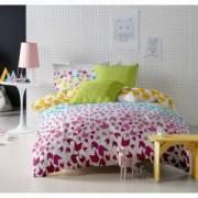 Lenjerie de pat Dormisete bumbac 100 Loving Matisse Rose pentru pat 2 persoane 4 piese 200X220 / 50x70 cearceaf pat uni Verde Lime
