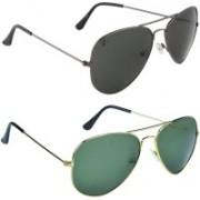 Zyaden Aviator Sunglasses(Green, Black)
