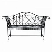 Outsunny Panchina da Giardino Stile Romantico in Ferro, Nero, 151x44x92cm