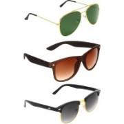 Abner Aviator, Wayfarer, Clubmaster Sunglasses(Green, Brown, Black)