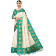 Indian Beauty Women's Green Color Mysore Silk Printed Saree Border Tassels With Blouse Piece(WEDDING-JHUMKA-GREEN_Free Size)